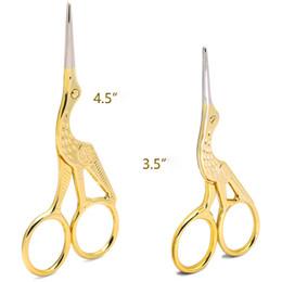 Wholesale Golden Scissors - Fashion Retro Silver Golden Stork Sewing Scissors Trimming Dressmaking Shears Cross-stitch Embroidery Steel Tailor Scissor Sewing