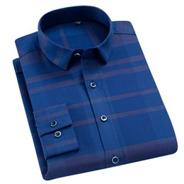 28161cc4489 Mens Stretch Standard-fit Plaid Checkered Dress Shirts Smart Casual Thin  Breathable Comfortable Soft Long Sleeve Easy Care Shirt