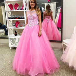 Wholesale White Tull Dress - Hot Pink Sheer Neck Prom dresses Ball Gown Cheap 2018 Keyhole Back Tull Crystal Beaded Lace up Long Quinceanera Sweet 16 Dresses