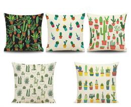 2019 cuscini tropicali Cactus Pillow Case Linen Cotton Lovely Tropical Green Plant Divano Cuscino Home Decor Federa cuscini tropicali economici