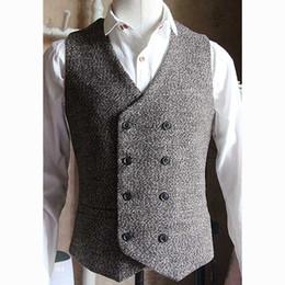 Costumes de style vintage en Ligne-De haute qualité homme gilet À double boutonnage style anglais Vintage gilet hommes robe formelle costume de mariage gilet