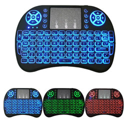 Wholesale Remote Mouse Android - Rii I8 Backlight Backlit 2.4GHz Wireless Mouse Gaming Keyboard colorful Backlight Remote Control for S905X S912 Android TV Box T95 X96 Mxq