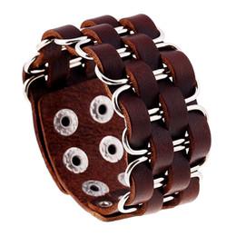 Deutschland Handgemachte Lederwebart Armband mit Metallkette Großhandel PrCheap Herren Manschette Armband cheap mens metal cuff bracelets Versorgung