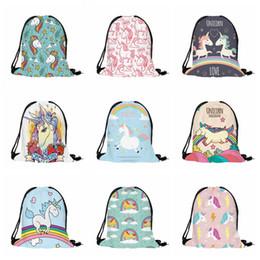 Wholesale Xmas Drawstring Gift Bag - 3D Printing Schoolbags Unicorn Pattern girls Drawstring Bag back to School Shopping Bags Kids Party Xmas Gift