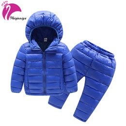 Wholesale Parka Pants - Kids Clothes Sets For Boys Winter Down & Parkas Suits For Girls Boys Solid Waterproof Windbreaker Hooded Jackets+Pants 2pcs Sets