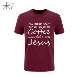 Wholesale Funny Army - All I Need Today Is a Little Bit of Coffee and a Whole Lotta Jesus T Shirt Men Funny Cotton Short Sleeve T-shirt Summer