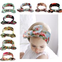 Bunny ear headband on-line-Baby Girl Bunny Ear Headbands Infantil Floral Flor Impressão Nó Envoltório Cabeça Crianças Acessórios Para o Cabelo orelhas de Coelho Hairbands cocar crianças C4940