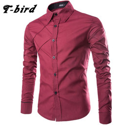b76e39edbcf T-bird Brand 2017 Dress Shirts Mens Striped Shirt Cotton Slim Fit Chemise Long  Sleeve Shirt Men New Model Shirts 10 Color