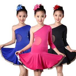 8e72f082f New Fashion Sexy One Shoulder Latin Dance One-piece Dress For Girls Kids  Children, Ballroom Tango Cha Cha Rumba Salsa Costumes