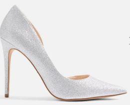 Canada 2018 nouvelles femmes de mode blanc talons hauts chaussures de mariage bout pointu femmes ruban sequin paillettes talons aiguilles mariage chaussures de mariée supplier white sequin shoes wedding Offre