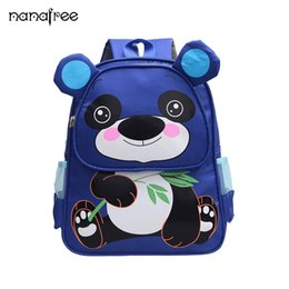 2019 bolsa de laptop de couro rosa Nanafree Crianças Saco Da Escola Dos Desenhos Animados Panda Bebê Mochila Menino Menina Sacos De Escola Presente Para Crianças Mochilas escolar