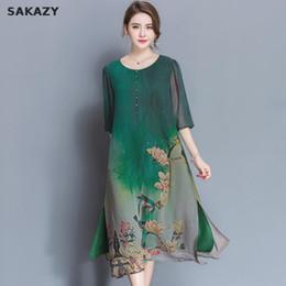 Wholesale Plus Size Chinese Dresses Clothing - 2017 Sakazy 3xl Plus Size Haut High Quality Silk Chinese Style Dress Summer Women Fashion Clothing Haut Party Dress