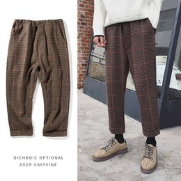 Wholesale khaki korean pants - 2018 Spring New Korean Version Of The Youth Fashion Trendy Houndstooth Wool Woolen Material Nine Pants Loose Small Literary Men