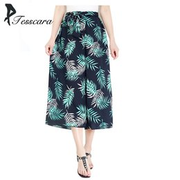 Wholesale fat bow - Women Summer Casual Wide Leg Pants Female Chiffon Print Beach Bottoms Girl High Waist Loose Fat Sashes Bow Cross Pants&Capris