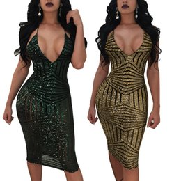 Wholesale womens tight dresses - Sexy Deep V Neck summer Dress 2018 Vestidos Tight Bodycon Bandage Sequins strap Dress For Womens gold ClubWear Party Dresses