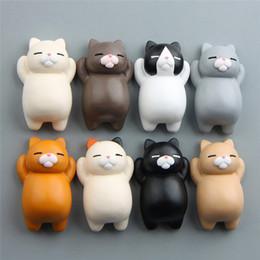 karikatur katze aktion Rabatt Neue nette Katzen-Karikatur-Kühlschrank-Magneten dreidimensionale magnetische Schnalle Kühlschrank Aufkleber Action Home Decoration 8 Art Freies Verschiffen