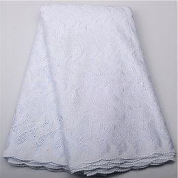 Wholesale white cotton voile fabric - White Lace Cotton Material Bridal African Swiss Voile In Switzerland High-End Nigerian Lace Fabrics For Wedding Dress QF450B-2