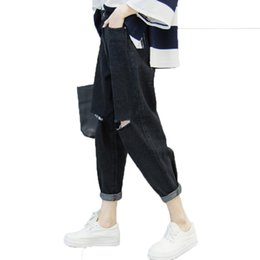 7df9027f91 pantalón baggy negro mujer Rebajas Cowboy agujero pantalones rotos 2018 mujeres  mujeres básicas Noveno Jeans pantalón