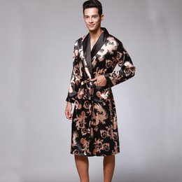 Wholesale male silk kimono robe - SSH0127 Spring Autumn Men's Bathrobes Dragon Printed Male Pajamas Full Sleeves Nightwear Sleepwear Satin Silk Kimono Robe Pyjama