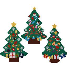palla di natale ornamento viola Sconti 5 pz moda fai da te feltro albero di natale con decorazioni porta appeso a parete per bambini regalo educativo xmas tress circa 77x100 cm