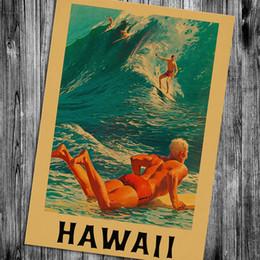vintage tapeten designs Rabatt Schiff frei! Maui Hawaii Vintage poster Retro Poster Retro-Poster Wandkunst Malerei Tapete Café Bar Pub decoraiton