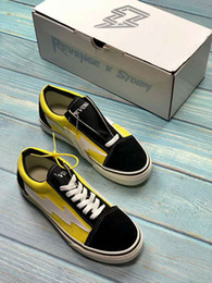 Wholesale chocolate skateboards - 2018 New Revenge X Storm Old Skool Canvas Designer Sneakers Womens Men Low Cut Skateboard Yellow Red Blue White Black Casual Shoes