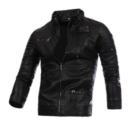 Wholesale Lether Jacket Men - 2017 Fashion Men's Winter Leather Jackets Men PU Stand Collar Slim Fit Lether Motorcycle Zipper Casual Jacket