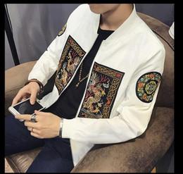 Wholesale Chinese Embroidery Jacket - Spring Men Bomber Jacket 2018 New Fashion Chinese Long Pao Jackets Men Slim Fit Long Sleeve Men Casual Coats Windbreaker 5XL-M