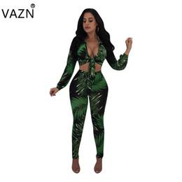 модные комбинезоны Скидка VAZN New Fashion Design 2018 Bodycon Jumpsuit Full Sleeve Long Jumpsuit V-Neck Sexy Print L5195