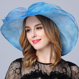 Wholesale Designer Beach Wedding - Fashion Designer Women Church Hats Kentucky Derby Organza Ladies Hat Female Summer Caps Lady Dress Wedding Elegant Orgabza Hats Races Hat