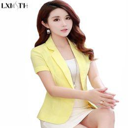 3f856083fff8e Short Sleeve Blazer Female 2018 Summer Women Short Coats Office Woman  Blazers Korean Ladies Slim Thin Casual Suit jacket S-2XL Y18110701