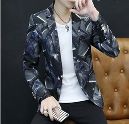 Wholesale Korean Style Clothes Men - Men's personality printed Western-style clothes 2018 spring new style suit Korean cultivate one's moral character arder coat