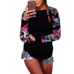 Otoño 2018 Mujeres de moda Patchwork de manga larga camuflaje ejército camiseta Tops cuello redondo camisetas Tops camisetas más el tamaño 5XL 6Q0453 desde fabricantes