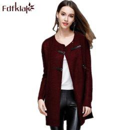 Wholesale Ladies Long Red Cardigan Sweater - Fdfklak Wine Red Navy 2018 Spring Women's Spring Jacket Long Sleeve Female Sweater Cardigans For Women Long Ladies Sweaters Q776