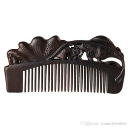 Wholesale Ebony Hair - Mybasy 1PCS High Quality Top Boutique Hair Wooden Combs Luxury Precious Ebony Wood Exquisite Craft Pure handmade