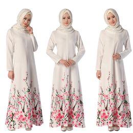 Canada Vêtements pour femmes musulmanes Abaya Robe à manches longues et longue au sol avec fleur en vrac Imprimé islamique jilbab hijab caftan vêtements ethniques pour femmes DK729MZ cheap flower abaya Offre