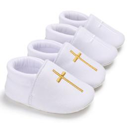 Canada Bébé église baptême baptême chaussures nouveau-né enfants premiers marcheurs nourrisson blanc Prewalker pour les filles garçons Cross Pattern chaussures cheap girls baptism shoes Offre