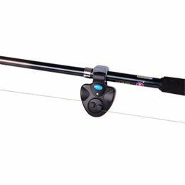 Alarme sonore de poisson de morsure électronique en Ligne-LED électronique lumière poisson morsure noir son-lumière alarme cloche clip sur canne à pêche