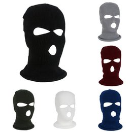 Outdoor Sport Full Face Cover Mask Three 3 Hole Balaclava Knit Hat Winter  Stretch Snow Mask Thermal Warm Knitting Wool Face b47bf30e858e