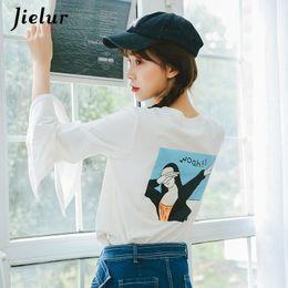 2019 camisetas frescas Cool impreso hip hop streetwear mujeres camiseta blanco simple manga flare camisetas de manga larga otoño chicly camiseta femme camisetas frescas baratos