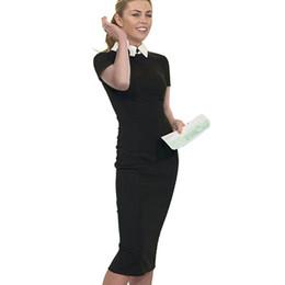 Vestidos de mujer de negocios equipados online-Niza-para siempre las mujeres de carrera Otoño Turn-down Collar Fit vestido de trabajo Vintage elegante oficina de negocios lápiz Bodycon Midi Dress 751