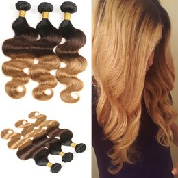 Wholesale Sexy Extensions - 3 Color Tone Ombre Hair Extensions Indian Virgin Hair Sexy Body Wave Indian Human Hair Bundles Free Shipping