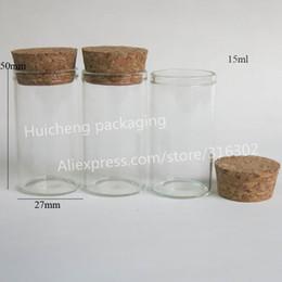 bouteille à bouchon de verre Promotion Tube en verre 24pcs / lot 15ml avec bouchon en liège, flacon à bouchon en liège, tube à bouchon en liège vide