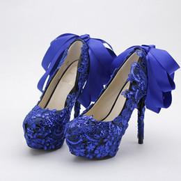 Canada Couleur bleue chaussures de mariage en dentelle paillettes paillettes boîte de nuit Pompes Belle Satin Bow Femmes Chaussures De Bal Parti Chaussures Habillées Bleu Offre