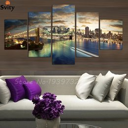 Wholesale Quality Custom Painting - 5 panel high quality New York City landscape Canvas Painting Large Wall Pictures For Living Room Custom no frame Direct Selling