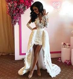 2019 kim kardashian vestidos de festa longos Vestido de noite Kim kardashian vestido de baile Hi-Lo manga longa Applique com decote em v tule branco A linha Yousef aljasmi Kylie Jenner vestidos de festa