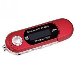 reproductor mp3 radio 32gb Rebajas Pequeños reproductores de MP3 Coche USB 2.0 Flash Drive Memory Stick LCD Mini Deportes Reproductor de música MP3 aaa Radio FM Regalo de coche radio con flash