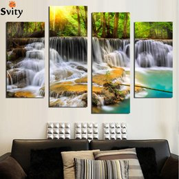Wholesale Waterfall Art - 4 Panel Wall Pictures for Living Room Art Waterfall Canvas Painting Modular Picture Posters and Prints Cuadros Paintings F1867