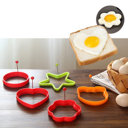 Wholesale heart shaped pancake mold - Silicone Frying Egg Mold Egg Fryer With Handle Round Star Flower And Heart Shaped Egg Tools