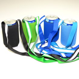 Wholesale neoprene beer - Creative Neoprene Can Cooler Sleeve with Reflective Sling for 12oz and 330ml Cola Beer Soda Water Can Random Color